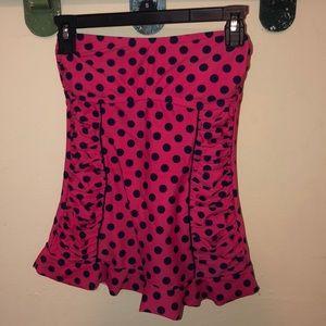 polka dot bathing suit top.